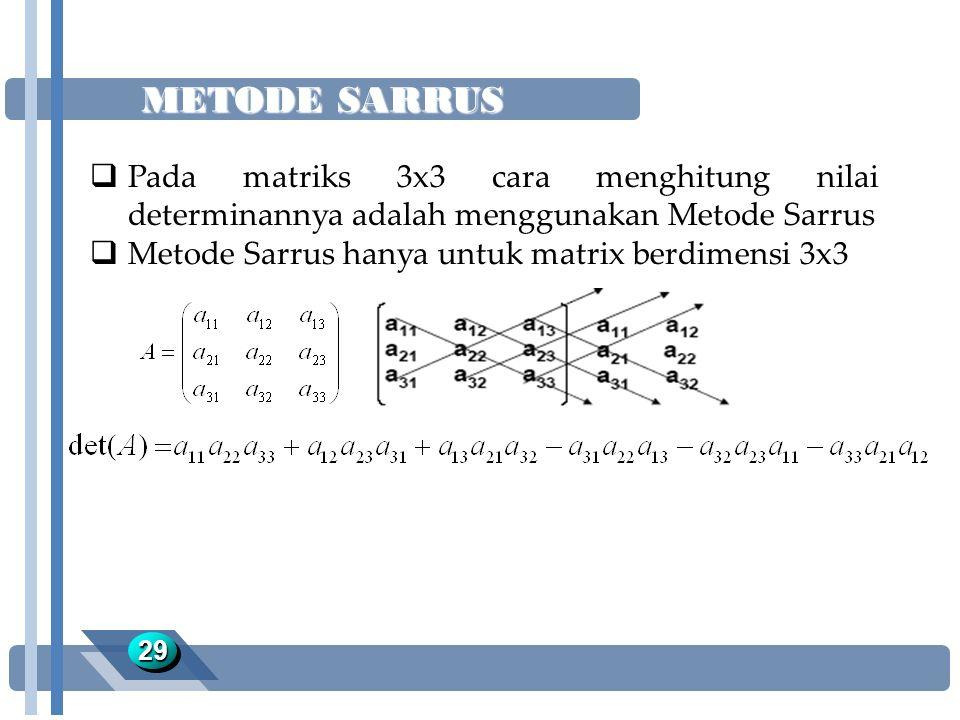 METODE SARRUS Pada matriks 3x3 cara menghitung nilai determinannya adalah menggunakan Metode Sarrus.
