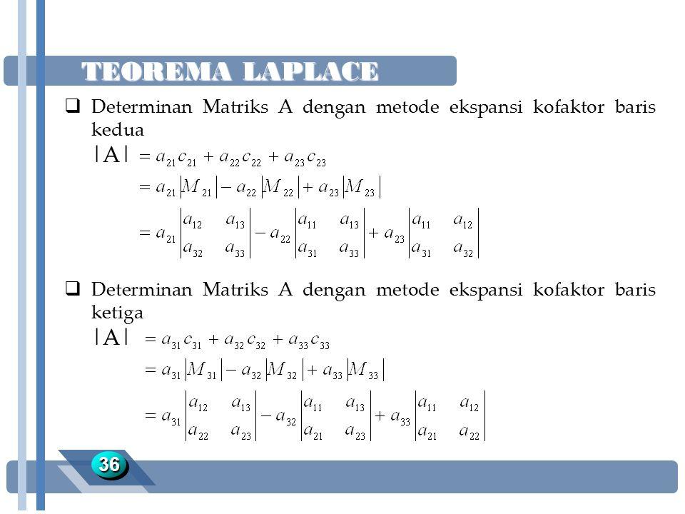 TEOREMA LAPLACE Determinan Matriks A dengan metode ekspansi kofaktor baris kedua. |A|