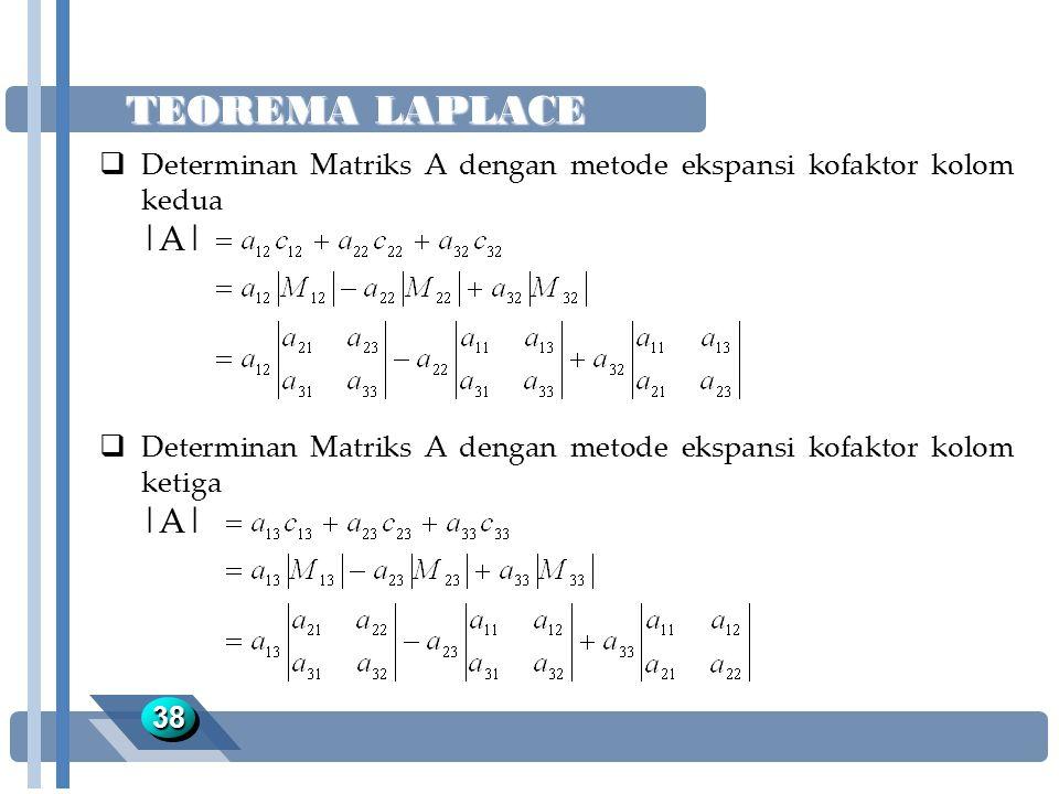 TEOREMA LAPLACE Determinan Matriks A dengan metode ekspansi kofaktor kolom kedua. |A|