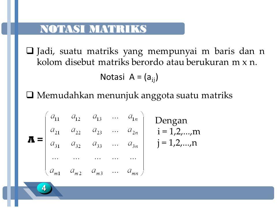 NOTASI MATRIKS Notasi A = (aij)