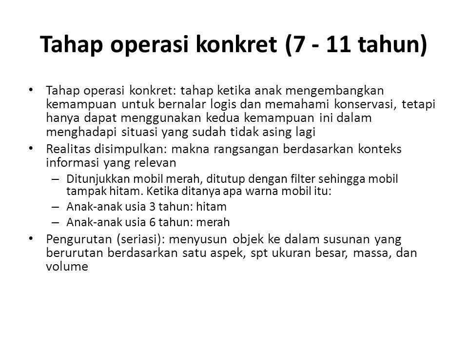 Tahap operasi konkret (7 - 11 tahun)
