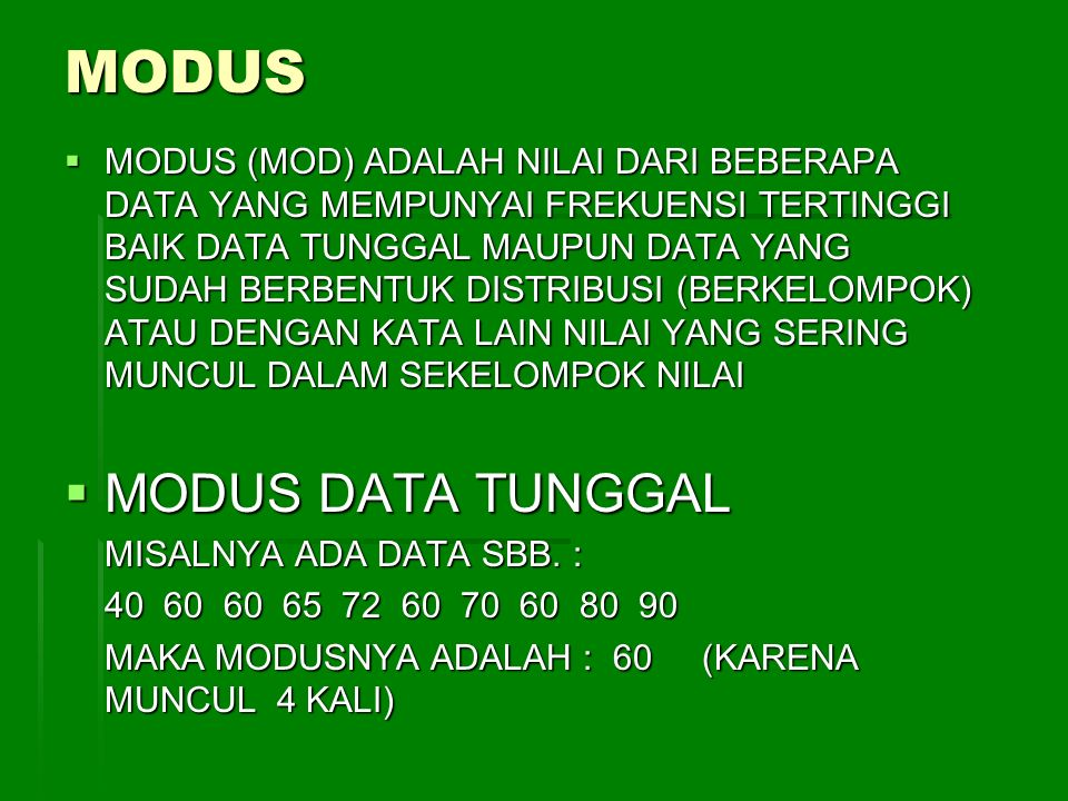 MODUS MODUS DATA TUNGGAL