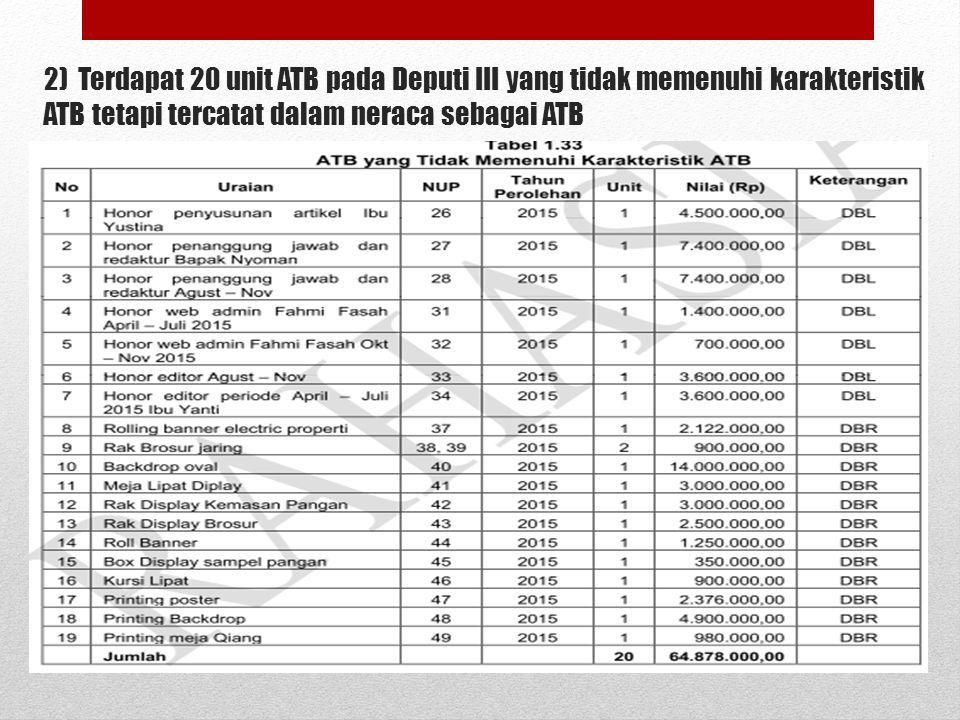 2) Terdapat 20 unit ATB pada Deputi III yang tidak memenuhi karakteristik ATB tetapi tercatat dalam neraca sebagai ATB