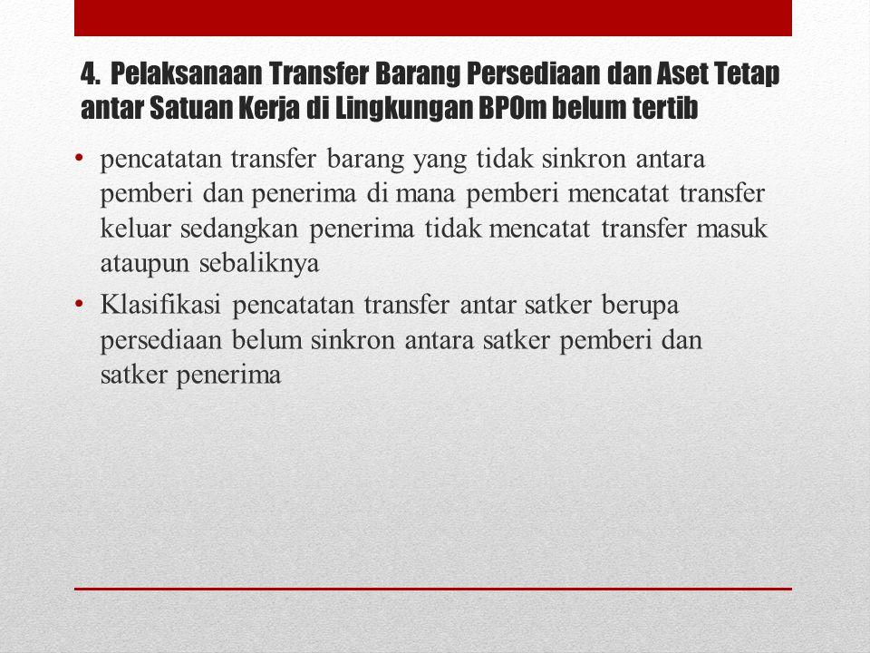 4. Pelaksanaan Transfer Barang Persediaan dan Aset Tetap antar Satuan Kerja di Lingkungan BPOm belum tertib