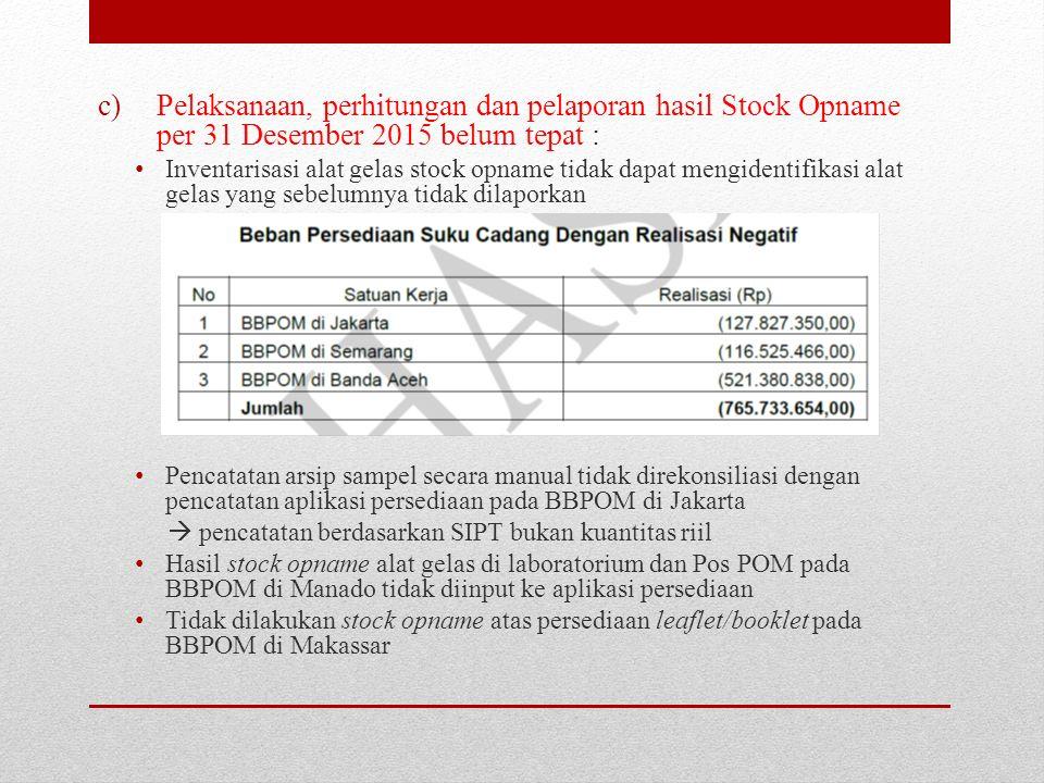 Pelaksanaan, perhitungan dan pelaporan hasil Stock Opname per 31 Desember 2015 belum tepat :