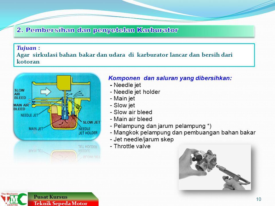 2. Pembersihan dan penyetelan Karburator