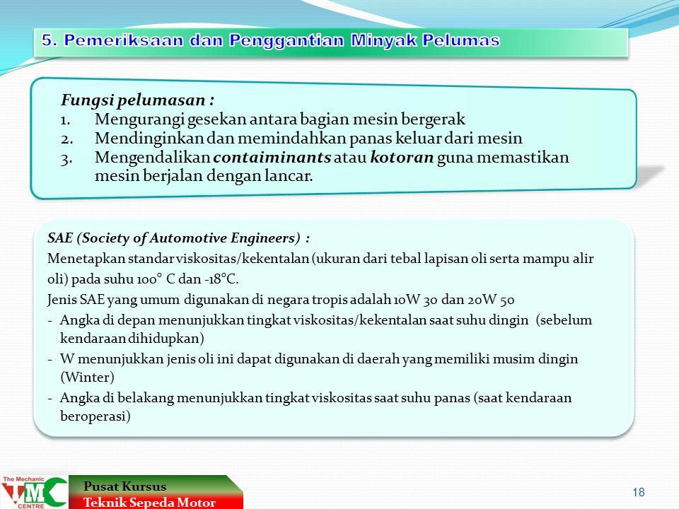 5. Pemeriksaan dan Penggantian Minyak Pelumas