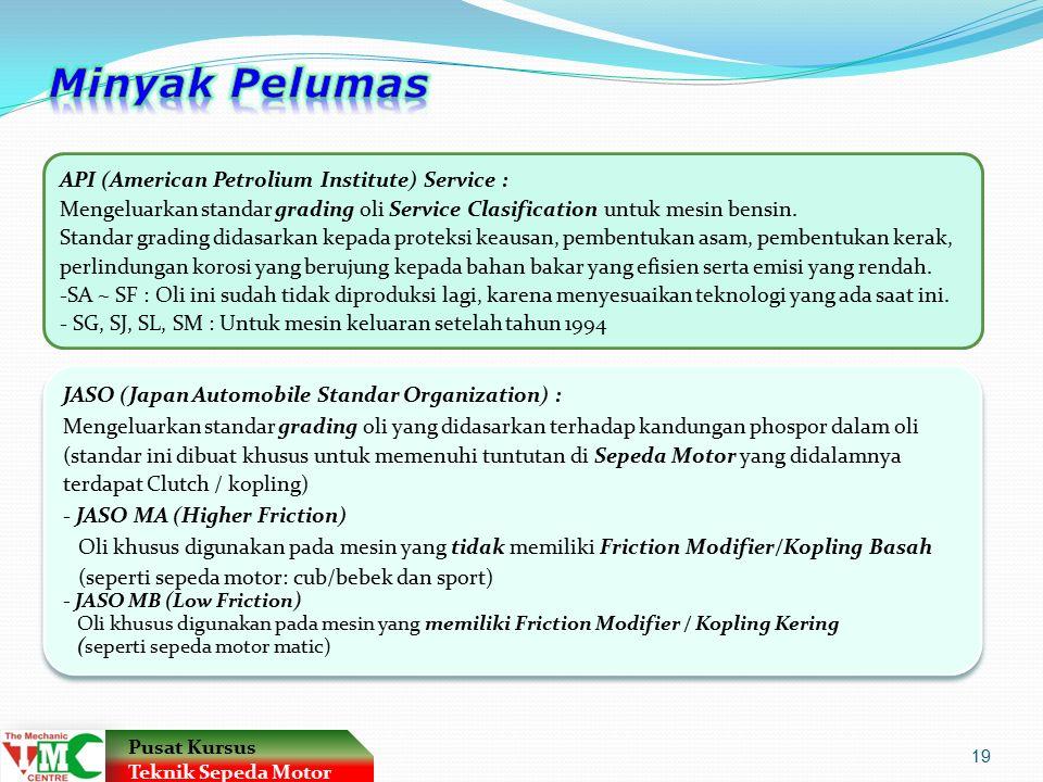 Minyak Pelumas API (American Petrolium Institute) Service :