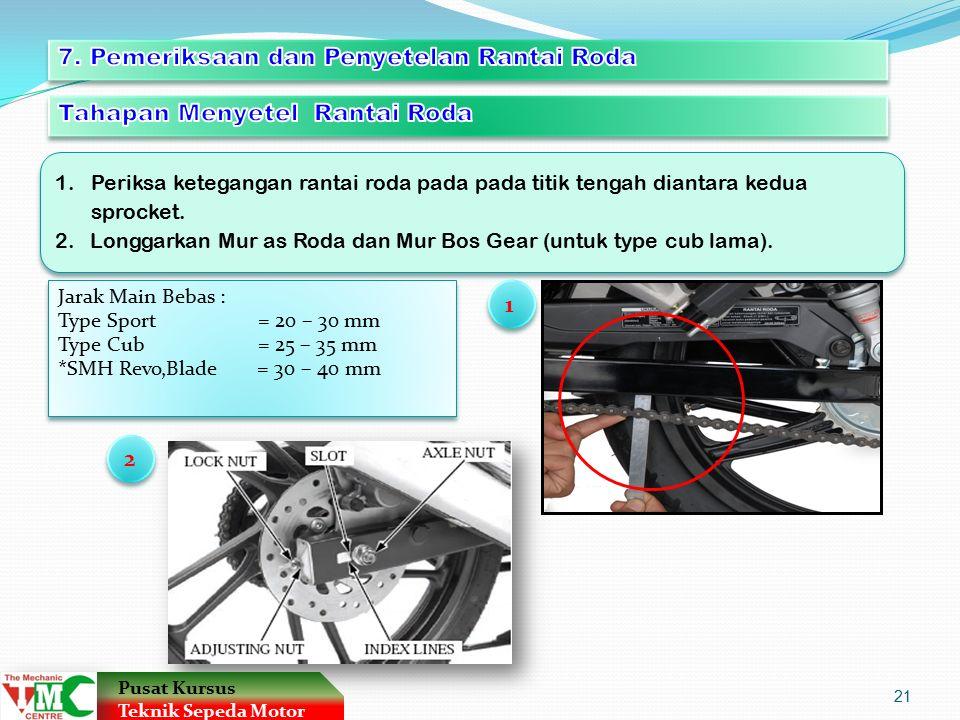 7. Pemeriksaan dan Penyetelan Rantai Roda