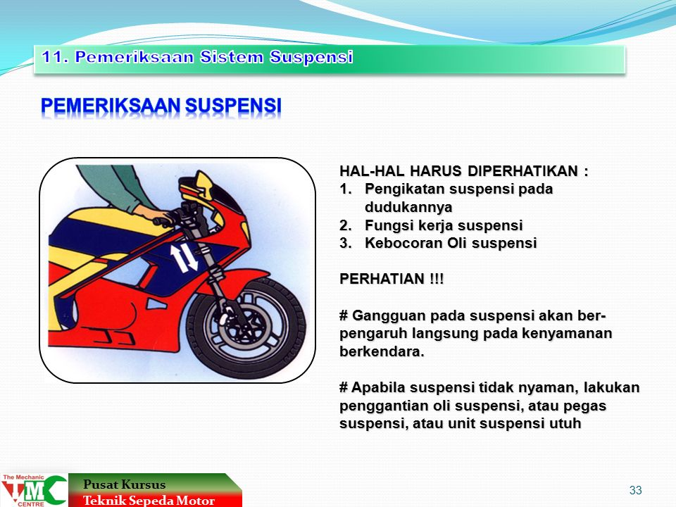 PEMERIKSAAN SUSPENSI 11. Pemeriksaan Sistem Suspensi