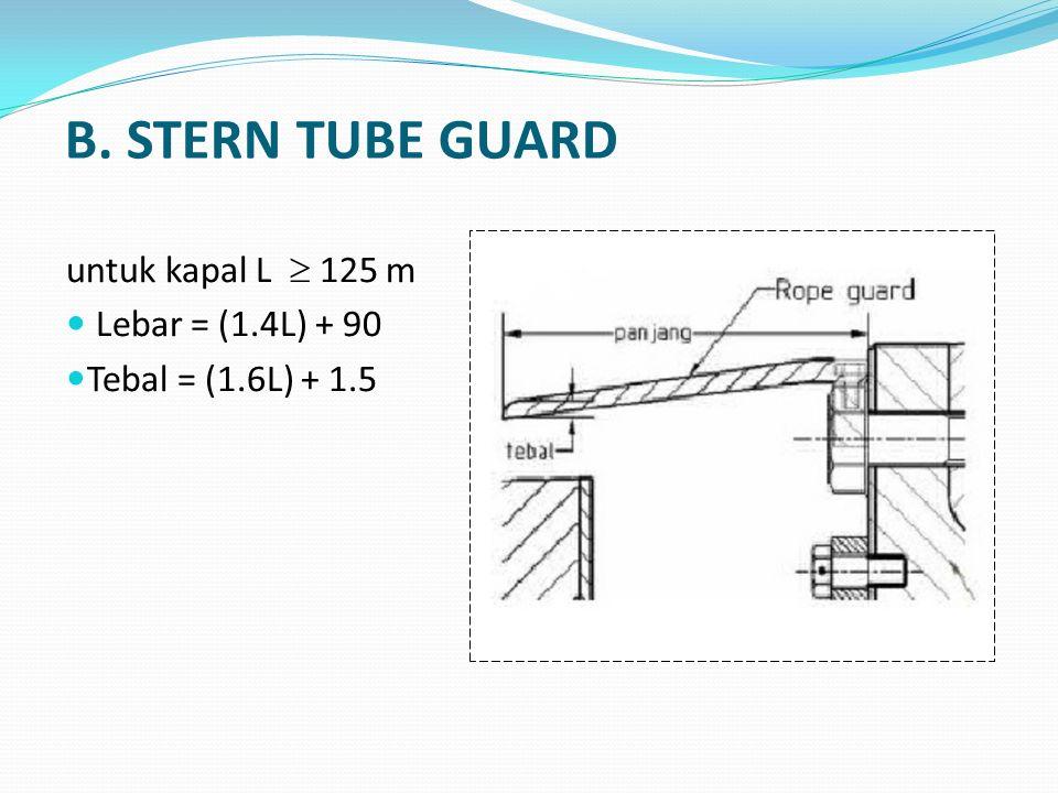 B. STERN TUBE GUARD untuk kapal L  125 m Lebar = (1.4L) + 90