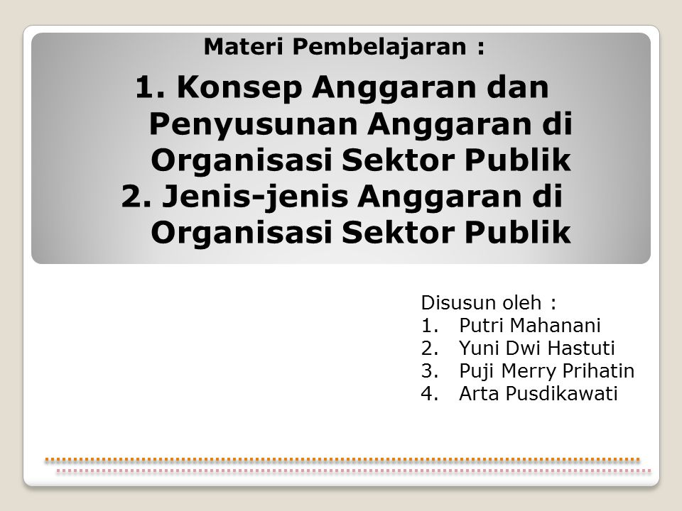 1. Konsep Anggaran dan Penyusunan Anggaran di Organisasi Sektor Publik