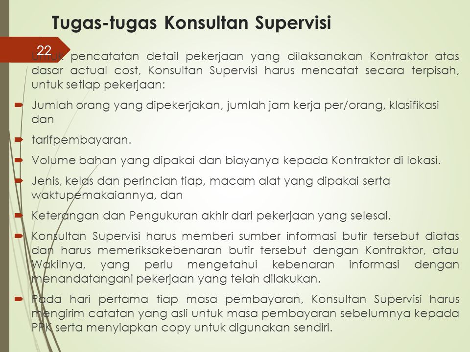 Tugas-tugas Konsultan Supervisi