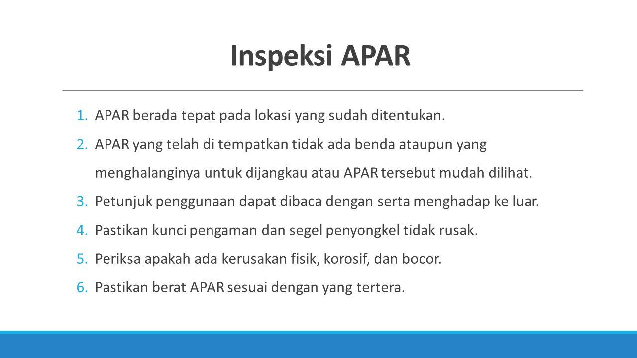 Inspeksi APAR APAR berada tepat pada lokasi yang sudah ditentukan.