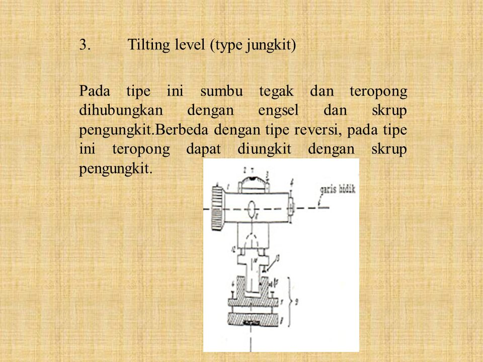 3. Tilting level (type jungkit)