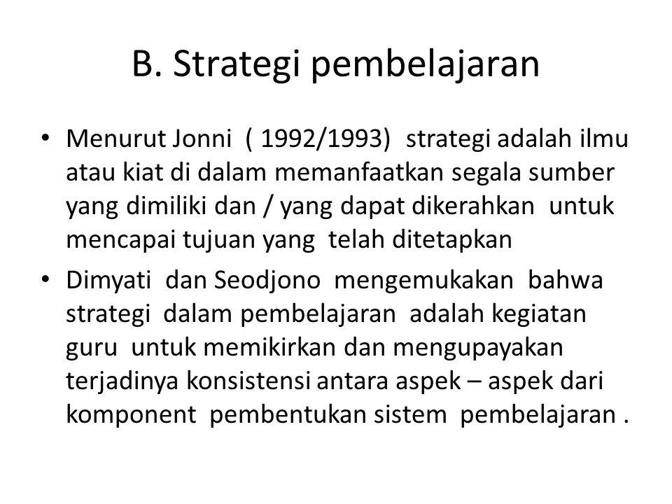 B. Strategi pembelajaran