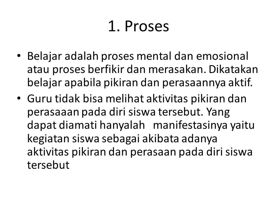1. Proses Belajar adalah proses mental dan emosional atau proses berfikir dan merasakan. Dikatakan belajar apabila pikiran dan perasaannya aktif.