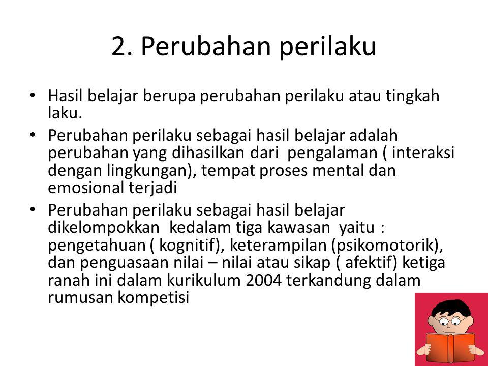 2. Perubahan perilaku Hasil belajar berupa perubahan perilaku atau tingkah laku.