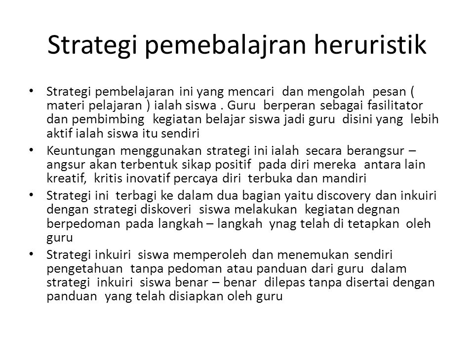 Strategi pemebalajran heruristik