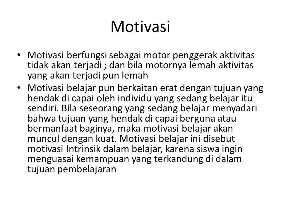 Motivasi Motivasi berfungsi sebagai motor penggerak aktivitas tidak akan terjadi ; dan bila motornya lemah aktivitas yang akan terjadi pun lemah.