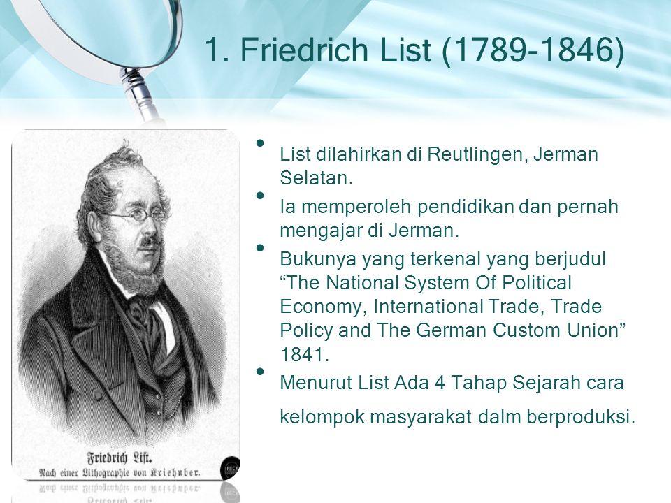 1. Friedrich List (1789-1846) List dilahirkan di Reutlingen, Jerman Selatan. Ia memperoleh pendidikan dan pernah mengajar di Jerman.