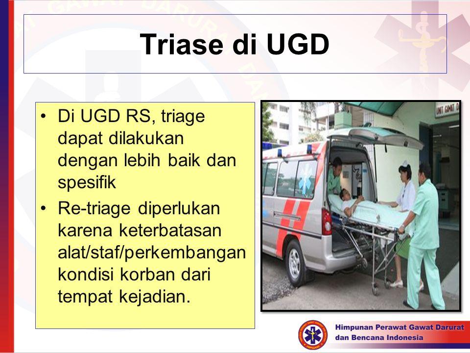 Triase di UGD Di UGD RS, triage dapat dilakukan dengan lebih baik dan spesifik.
