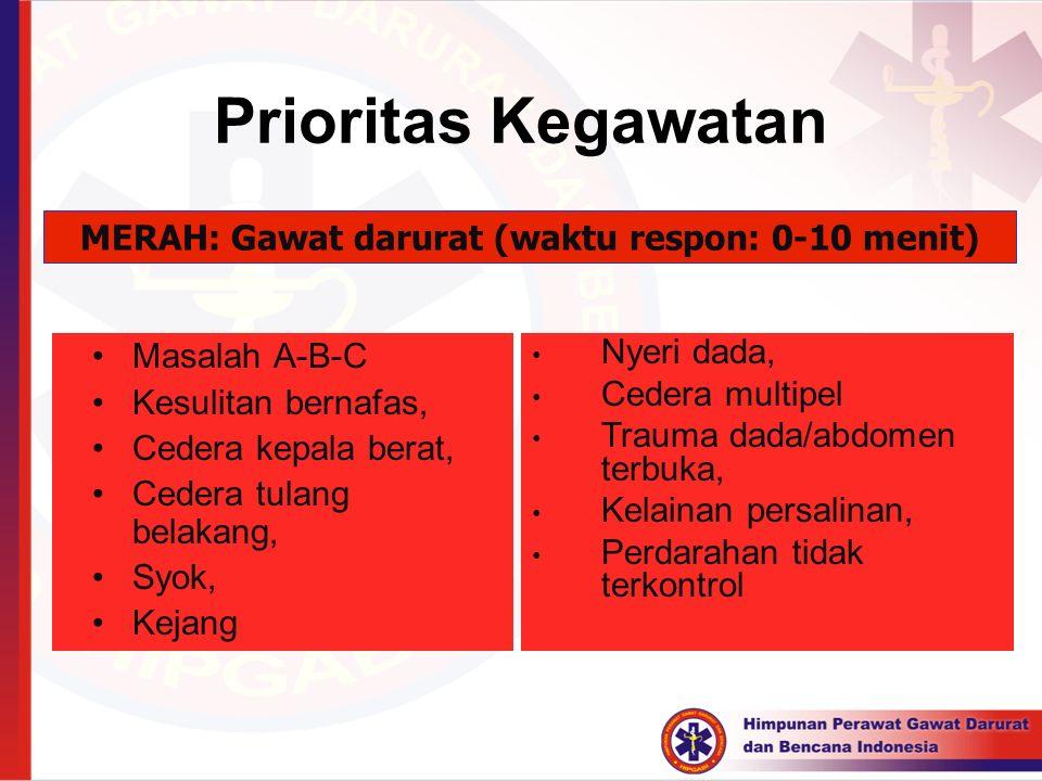MERAH: Gawat darurat (waktu respon: 0-10 menit)