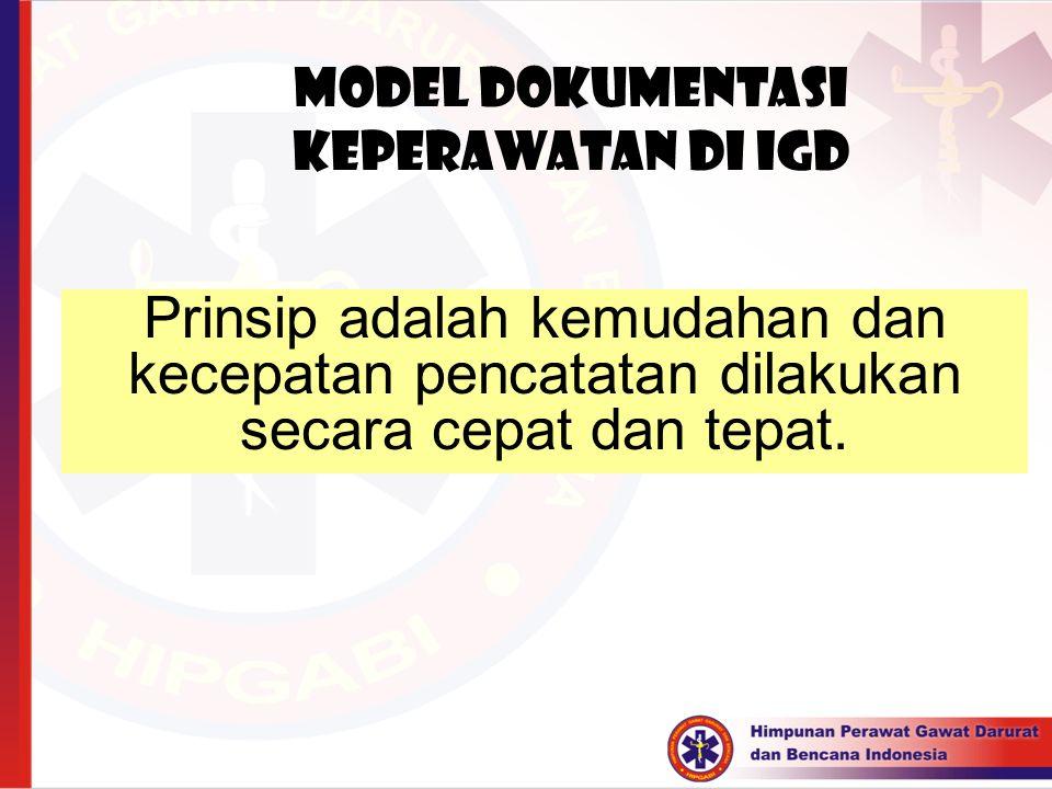 Model Dokumentasi keperawatan di IGD