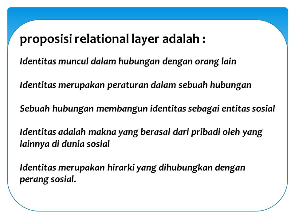proposisi relational layer adalah :