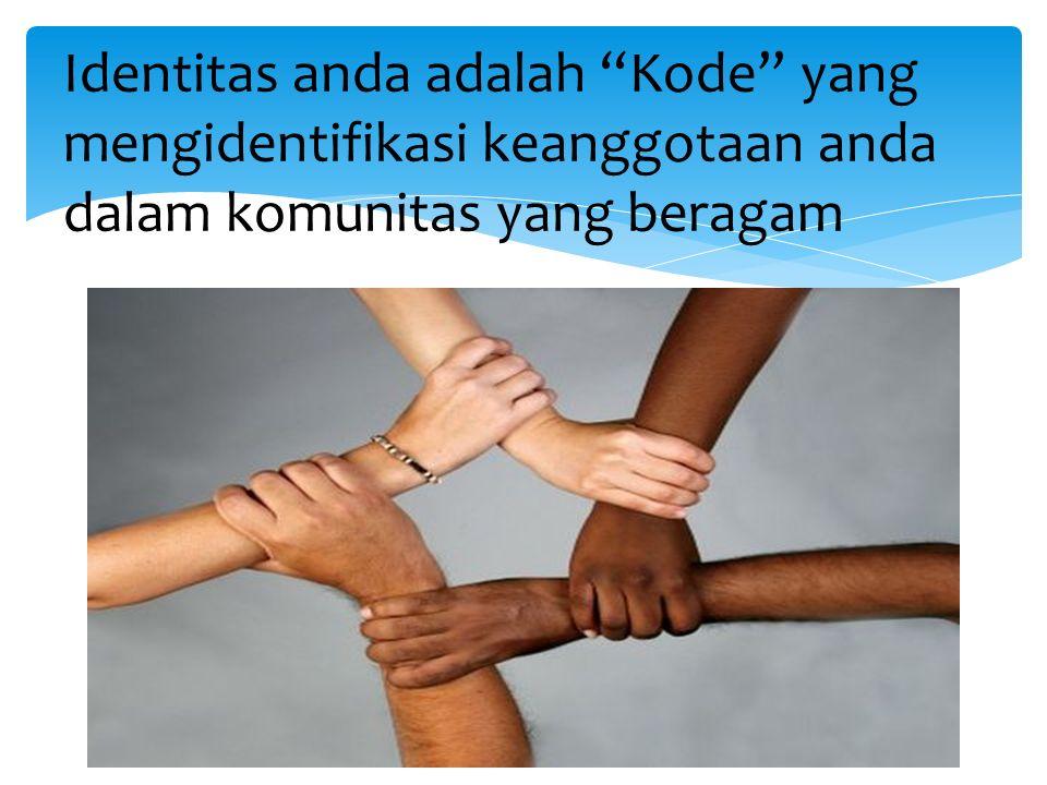 Identitas anda adalah Kode yang mengidentifikasi keanggotaan anda dalam komunitas yang beragam