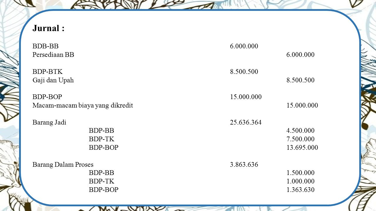 Jurnal : BDB-BB 6.000.000 Persediaan BB 6.000.000 BDP-BTK 8.500.500