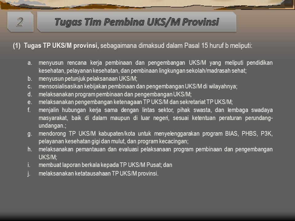 Tugas Tim Pembina UKS/M Provinsi