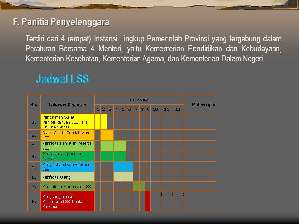 Jadwal LSS F. Panitia Penyelenggara