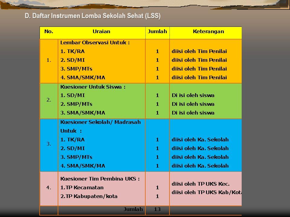 D. Daftar Instrumen Lomba Sekolah Sehat (LSS)