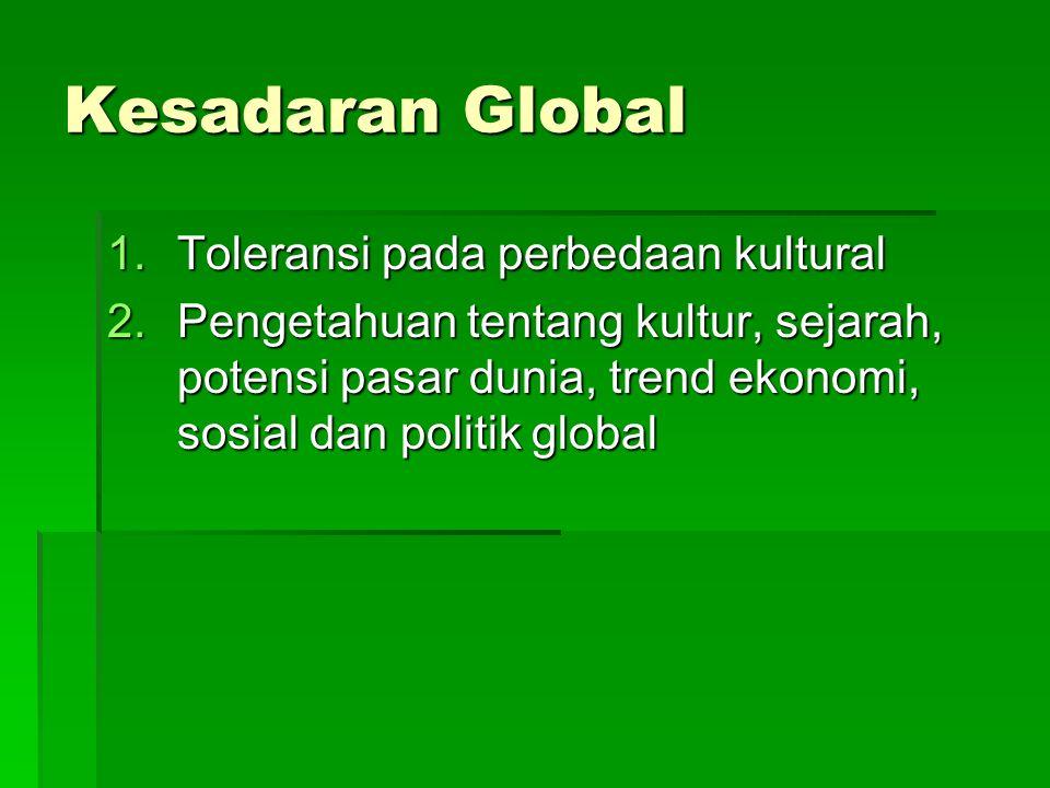 Kesadaran Global Toleransi pada perbedaan kultural