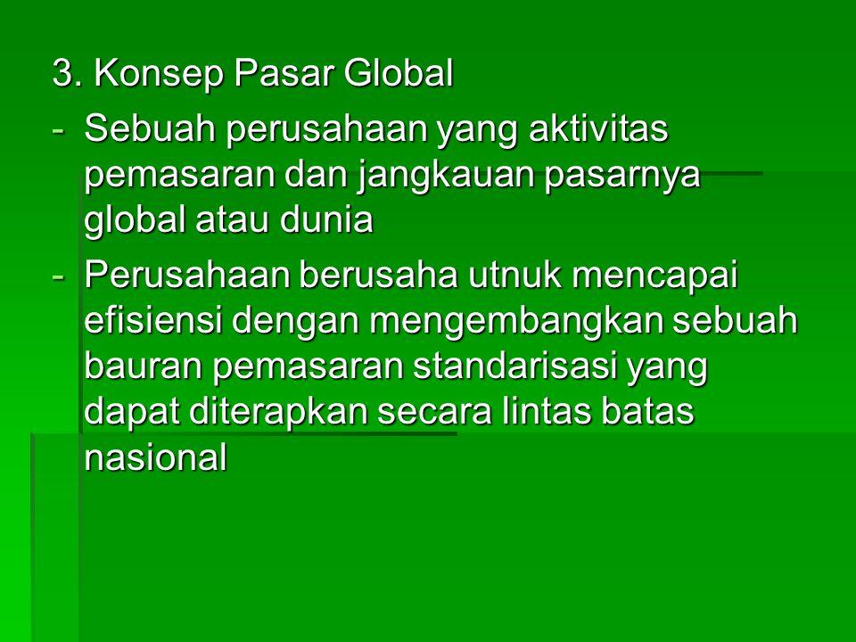 3. Konsep Pasar Global Sebuah perusahaan yang aktivitas pemasaran dan jangkauan pasarnya global atau dunia.