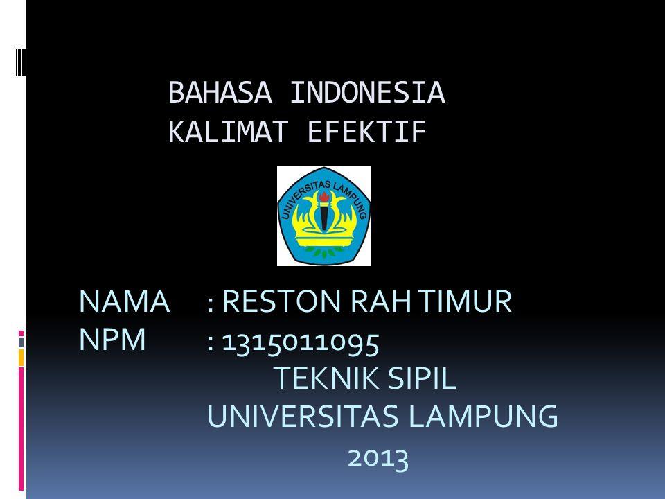 BAHASA INDONESIA KALIMAT EFEKTIF