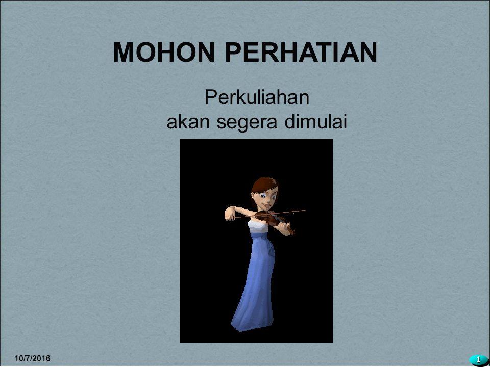 MOHON PERHATIAN Perkuliahan akan segera dimulai 4/28/2017 1