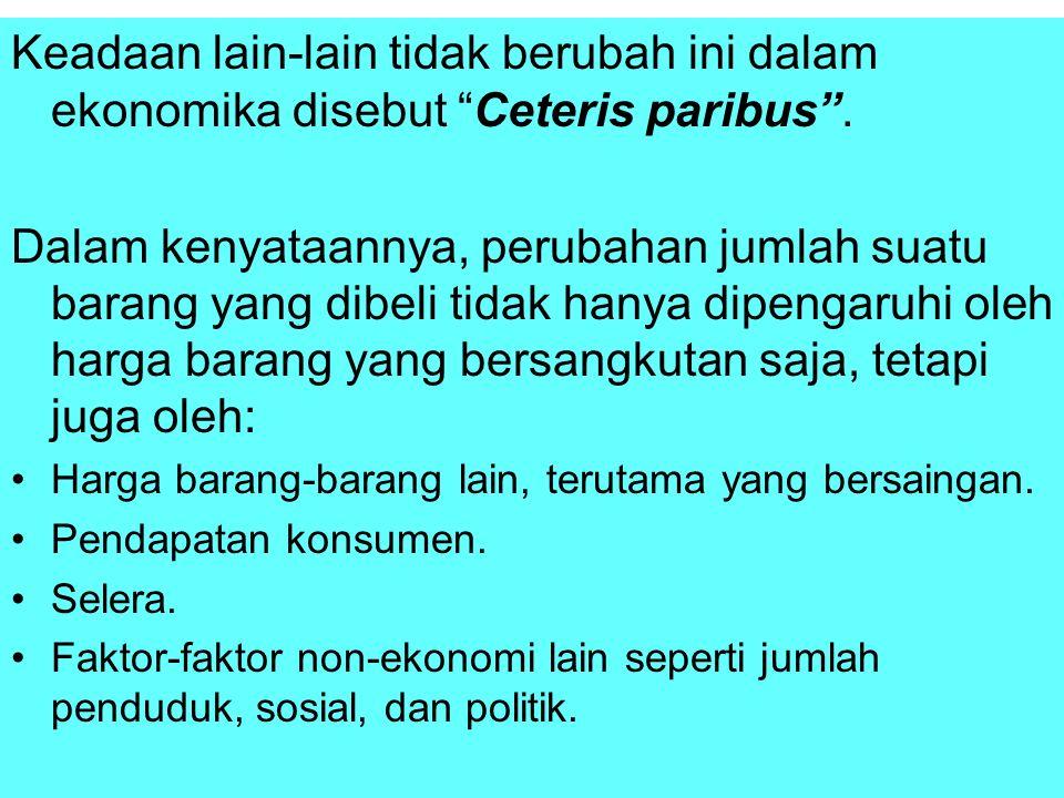 Keadaan lain-lain tidak berubah ini dalam ekonomika disebut Ceteris paribus .