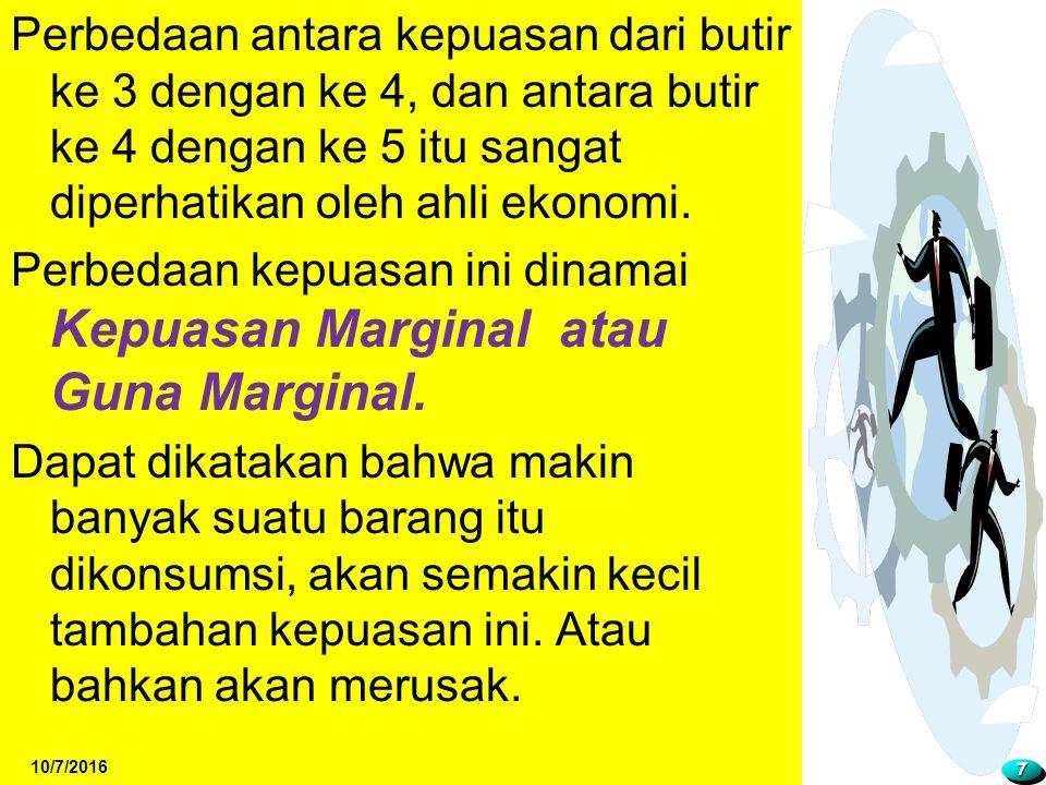 Perbedaan kepuasan ini dinamai Kepuasan Marginal atau Guna Marginal.