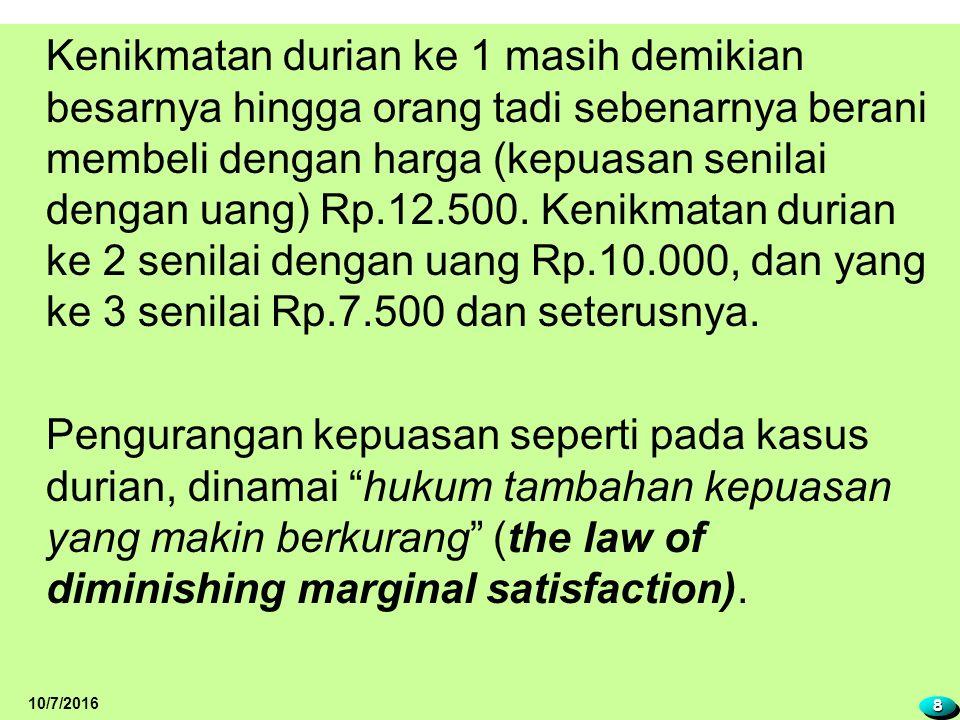 Kenikmatan durian ke 1 masih demikian besarnya hingga orang tadi sebenarnya berani membeli dengan harga (kepuasan senilai dengan uang) Rp.12.500. Kenikmatan durian ke 2 senilai dengan uang Rp.10.000, dan yang ke 3 senilai Rp.7.500 dan seterusnya. Pengurangan kepuasan seperti pada kasus durian, dinamai hukum tambahan kepuasan yang makin berkurang (the law of diminishing marginal satisfaction).