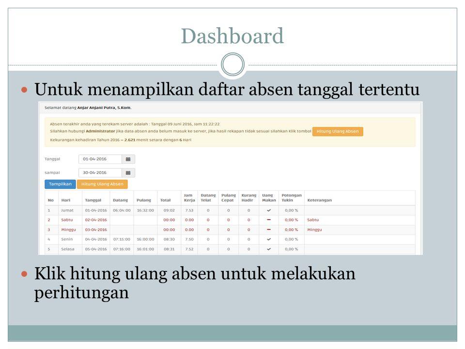 Dashboard Untuk menampilkan daftar absen tanggal tertentu