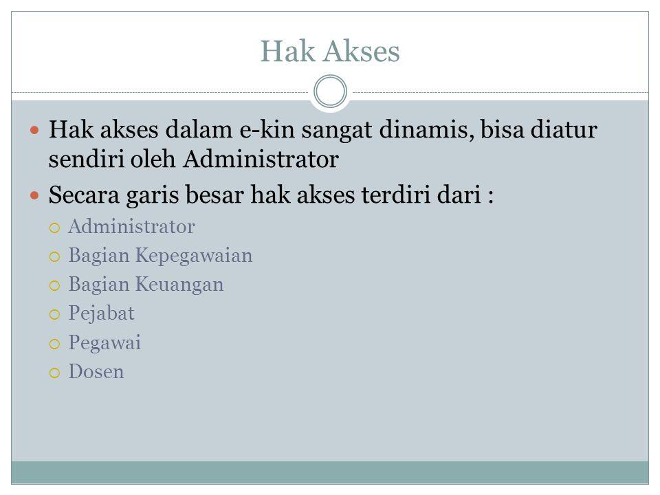 Hak Akses Hak akses dalam e-kin sangat dinamis, bisa diatur sendiri oleh Administrator. Secara garis besar hak akses terdiri dari :