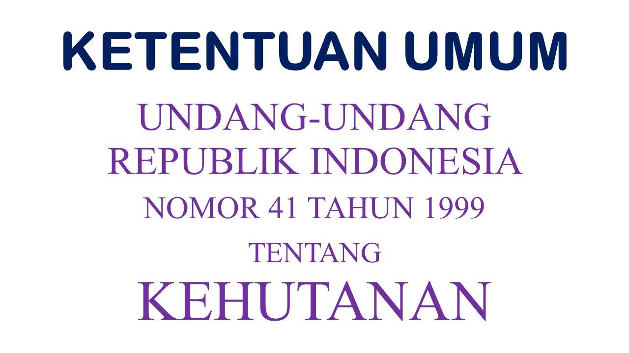 KEHUTA NAN KETENTUAN UMUM UNDANG- UNDANG REPUBLIK INDONESIA