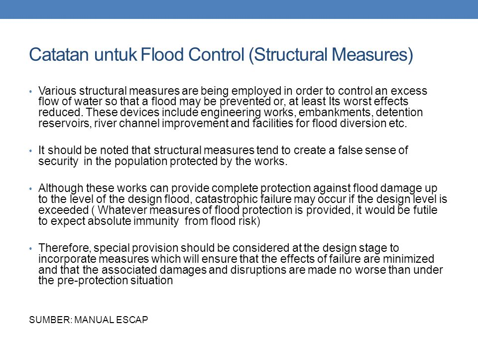 Catatan untuk Flood Control (Structural Measures)