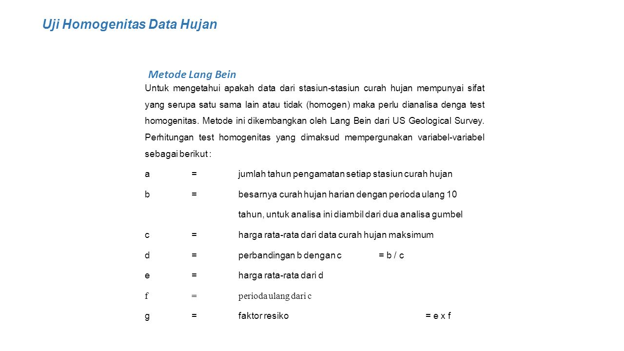 Uji Homogenitas Data Hujan