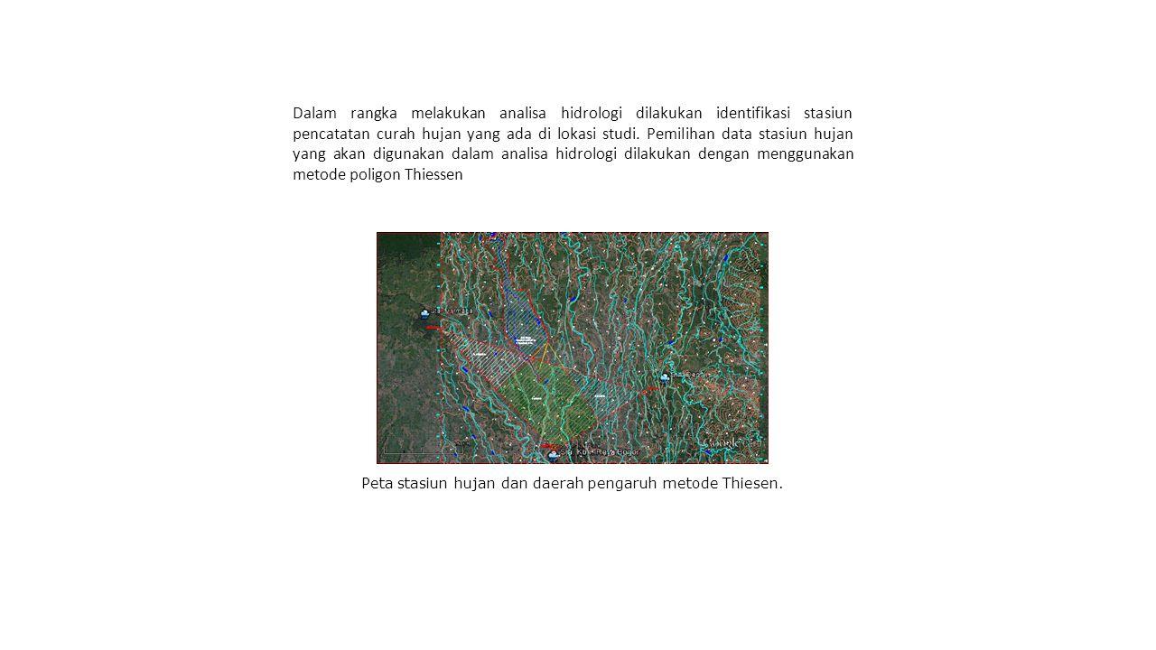 Peta stasiun hujan dan daerah pengaruh metode Thiesen.