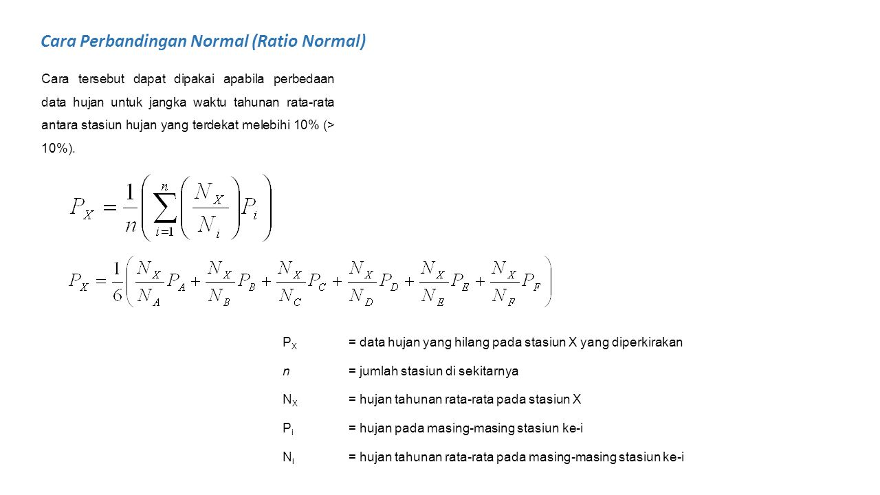 Cara Perbandingan Normal (Ratio Normal)