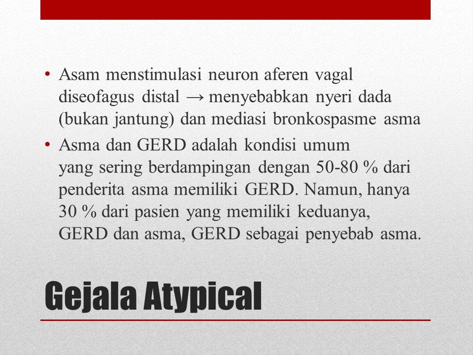 Asam menstimulasi neuron aferen vagal diseofagus distal → menyebabkan nyeri dada (bukan jantung) dan mediasi bronkospasme asma