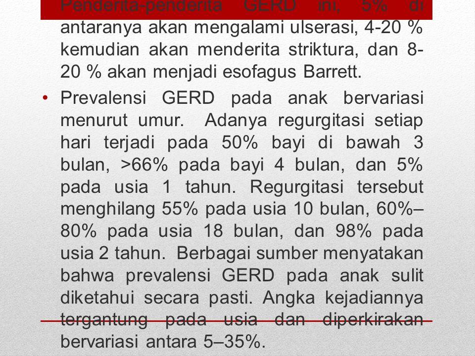 Penderita-penderita GERD ini, 5% di antaranya akan mengalami ulserasi, 4-20 % kemudian akan menderita striktura, dan 8-20 % akan menjadi esofagus Barrett.